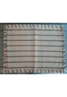 Table mat in beige fabric and shiny lines - JOGO AMERICANO BRILHA