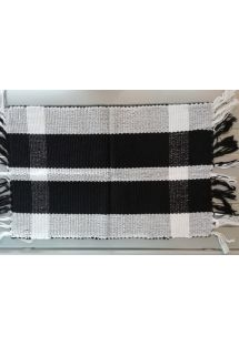 Black and white table mat with fringes - JOGO AMERICANO COMPACTO