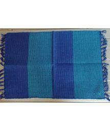Ljusblå / mörkblå bomullsduk med fransar - JOGO AMERICANO OCEANO