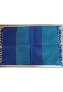 Light and dark blue table mat with fringes - JOGO AMERICANO OCEANO