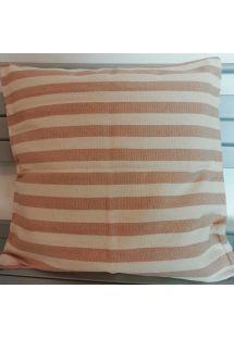 Cotton pillow case in beige stripes with zipper - LISTRADO CASAL BEGE