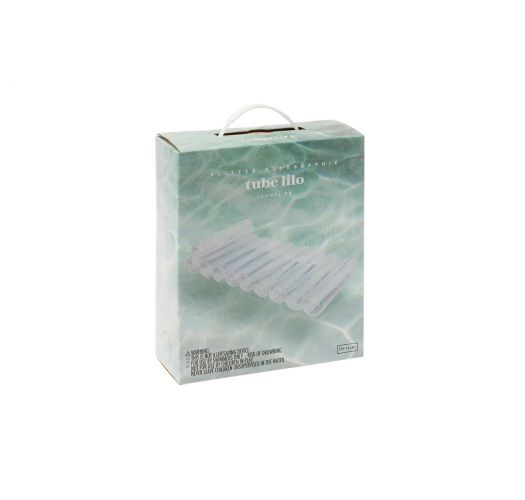 Transparent inflatable mattress with confetti - TUBE LILO GLITTER - HOLOGRAPHIC