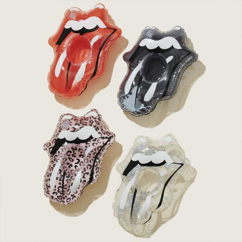 SET OF 4 INFLATABLE DRINK HOLDERS ROLLING STONES LIPS