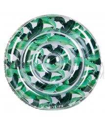 Large, round 2-person pool float, banana leaf print - FLOAT BANANA PALM