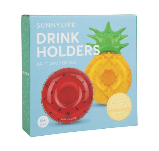 Inflatable drink holders - ananas & watermelon - GROOVY FRUIT SALAD