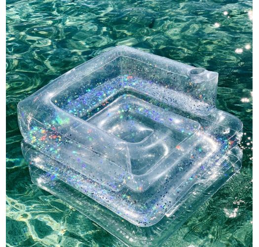 Transparent fold-out inflatable chair with confetti - INFLATABLE CHAIR GLITTER