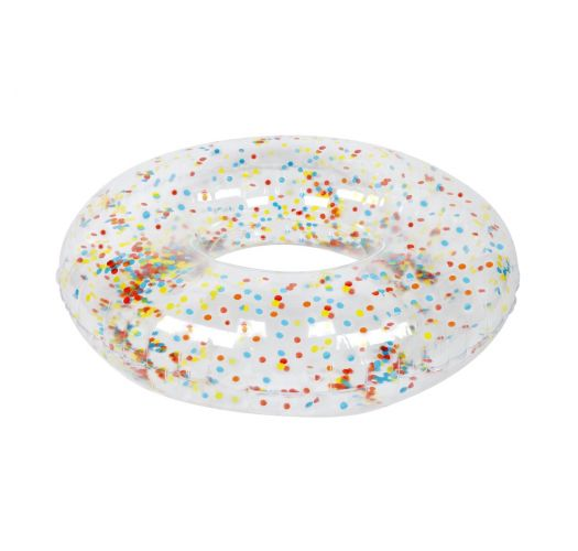 Transparent round buoy with confetti - POOL RING CONFETTI