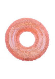 POOL RING GLITTER NEON CORAL