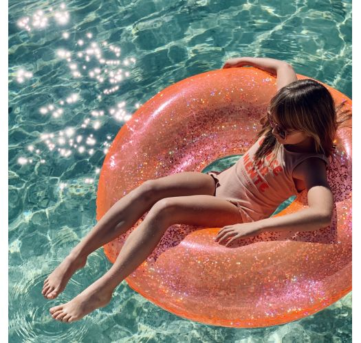 Coral pink round buoy with shiny confetti - POOL RING GLITTER NEON CORAL