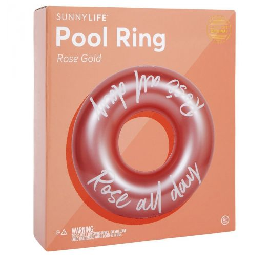 Pink gold inflatable ring with an inscription - POOL RING ROSE GOLD