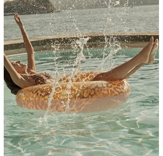 Roze zwemband met oranje luipaardprint - POOL RING CALL OF THE WILD - PEACHY PINK
