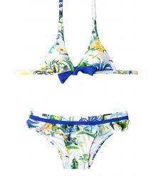 White print two-piece swimsuit, bottoms with ruffles - ALICE BRASIL