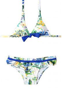 Bikini di colore bianco stampato, slip con volant - ALICE BRASIL