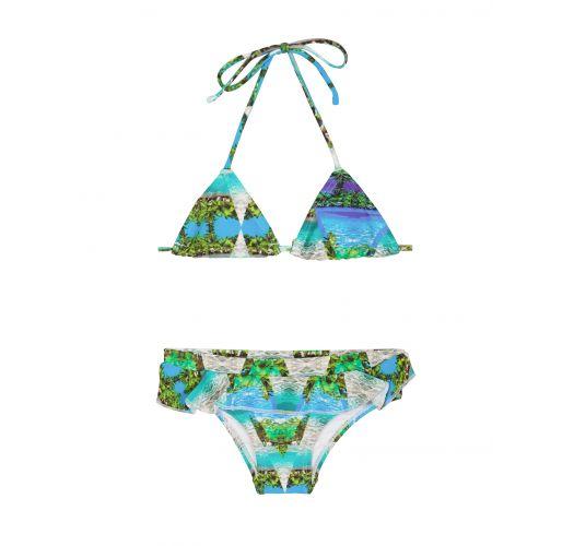 女孩款藍色熱帶風情比基尼泳裝,配褶邊下裝 - DELICADO MIRAGE
