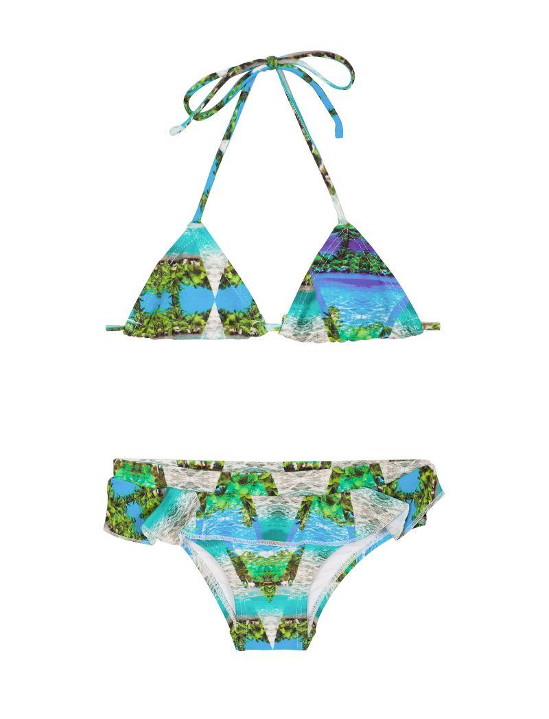 Blå tropisk bikini för flickor , nedredel med volanger - DELICADO MIRAGE