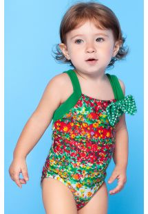 Colourful, flowery, one-piece little girl`s swimsuit - MONET BABY
