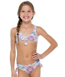 Reversible patterned brassiere bikini with pompoms - AZUCAR REVERSIBLE GIRL