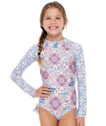 Girls&#39 one-piece swimsuit with long sleeves - AZUCAR RUSH