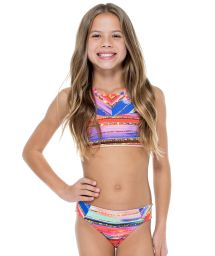 Gold print reversible girl's crop top bikini - BELLAMAR NECK