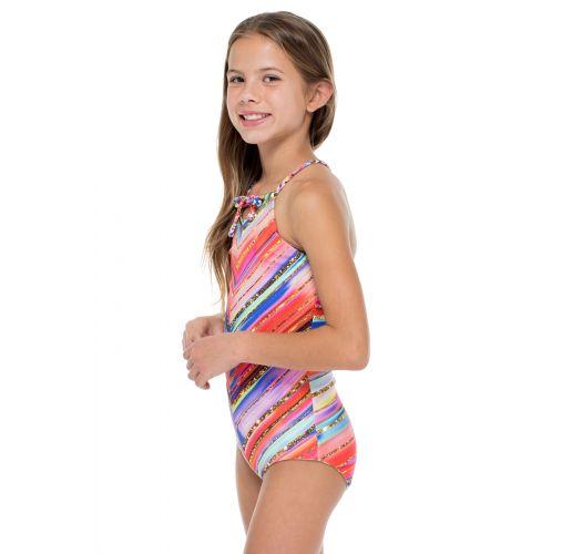 ゴールドの柄が入った女の子用のリバーシブルワンピース水着 - BELLAMAR ONE PIECE