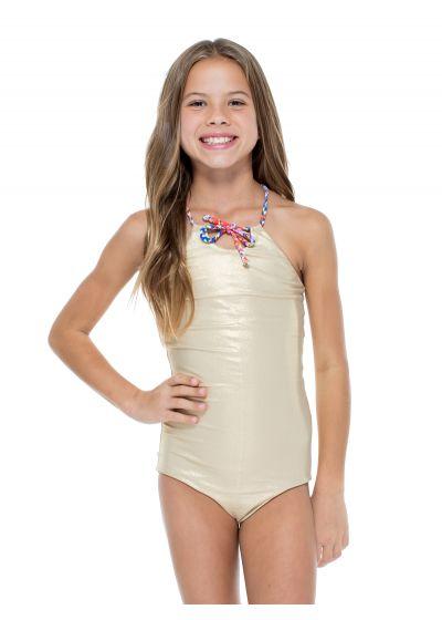 Сплошной двусторонний купальник в принт золотистый для девочки - BELLAMAR ONE PIECE