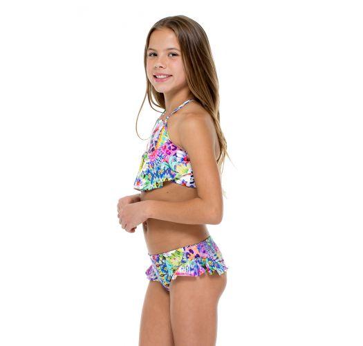 Gemusterter Mädchen-Crop-Top-Bikini, gerüscht - GUAJIRA HIGH NECK