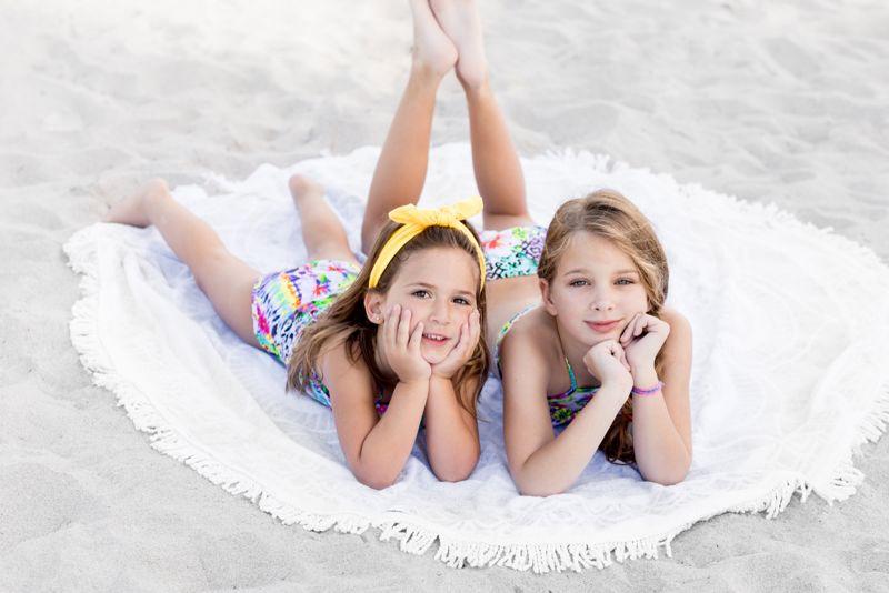 Mönstrad bikini för flickor, kort topp och volanger - GUAJIRA HIGH NECK