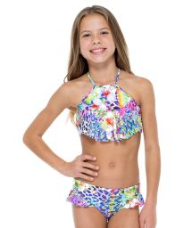 Girl&#39s printed crop top bikini with frills - GUAJIRA HIGH NECK