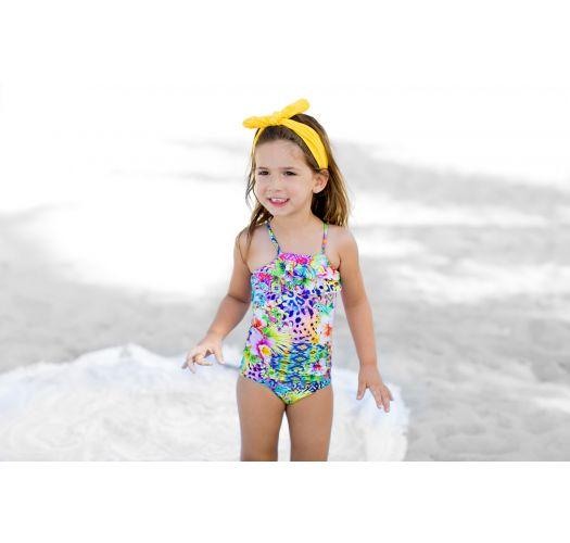 フリルが付いた柄入りの女の子用ワンピース水着 - GUAJIRA RUFFLE ONE PIECE