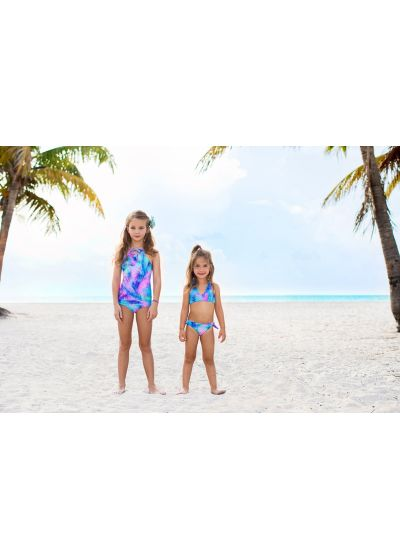 Girls' reversible one-piece swimsuit with palm tree print - PALMARES ONE PIECE