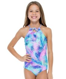 Girls&#39 reversible one-piece swimsuit with palm tree print - PALMARES ONE PIECE