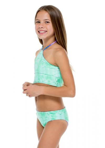 Vändbar, mönstrad flickbikini med kort topp - PALMARES TANKINI