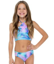 Girl&#39s reversible patterned crop top bikini - PALMARES TANKINI