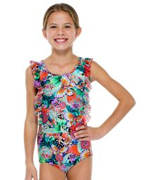 Butterfly print one-piece swimsuit with ruffles - VIVA CUBA ONE PIECE