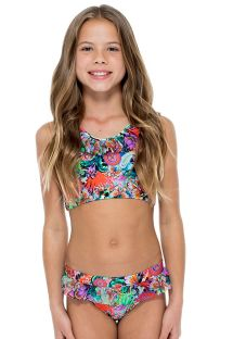 Butterfly print crop top bikini with ruffles - VIVA CUBA TANKINI