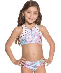 Little girls crop-top bikini set in a mixed pastel print - A WHALE&#39S SONG