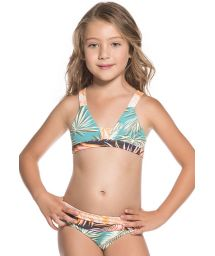 Little girls mixed palm tree print triangle bikini - ALL PALM TREES
