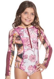 Little girls zipped long sleeved one-piece swimsuit - AMARANTH CHOCOLATTA