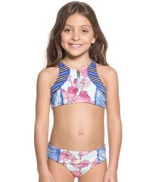 Little girls mixed print crop-top bikini set - AQUARELLE MIRROR