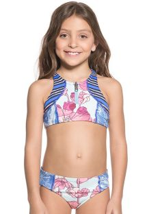 Conjunto biquini con crop top estampado mixto de niñas - AQUARELLE MIRROR