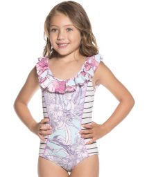 Little girls mixed print one-piece swimsuit with ruffle neckline - HEAVENLY FRILLS