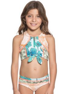 Little girls mixed print bikini set with bow-tie crop top - ITS KNOT ME
