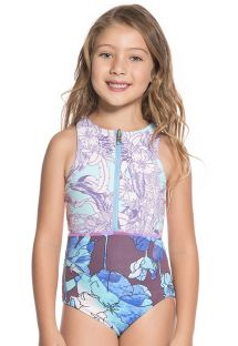 Little girls zipped purple print one-piece swimsuit - SANTA CATALINITA