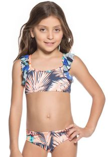 Little girls mixed print bikini set with ruffled sports bra top - SEASIDE PALENQUE
