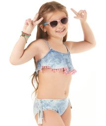 Girls washed denim ruffled crop top bikini - POMPOM