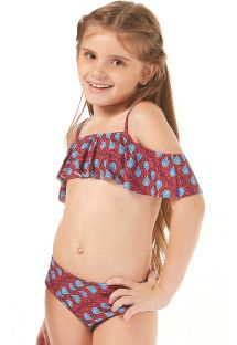 Girls ethnic wax print ruffled bikini - SONHO