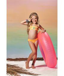 Baddräkt för flickor med orange överdel ALOHA CORAL