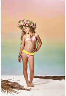 Little girls pink and yellow two-piece triangle swimsuit - ROSA POWER