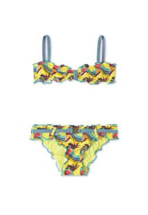 Girls printed bikini with ruffle trim - AVALON GIRL