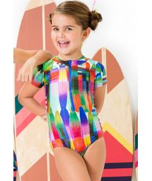 Zipped girl`s one-piece swimsuit - MAIO WAVE